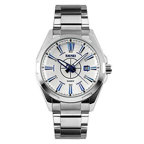 amstt Herren Business Uhren wasserdicht Kalender Armbanduhr Herren Stereo Zifferblatt Quarz-Uhr Edelstahl Armband Herren Gold Armbanduhr Herren Bulova Gold Diamant Uhr