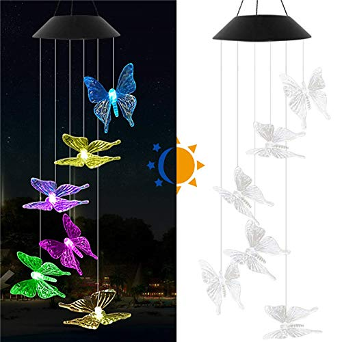 nnenblumen Biene Schmetterling Windspiel Licht, Farbwechsel wasserdichte Solar Windspiele Hängende Laterne Licht für Home Party/Schlafzimmer/Nacht/Hof/Garten Dekoration ()