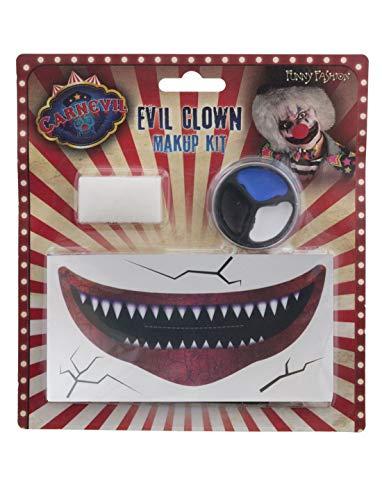 Karnevalsbud - Kostüm Accessoires Zubehör Make up Set Horror Clown mit fiesem Mund, Zombie Clown with Creepy Mouth, perfekt für Halloween Karneval und Fasching, Mehrfarbig