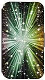 Kuna Flip Cover für Samsung Galaxy S5 Mini G800 Hülle Design K204 Sterne - Stars Schwarz / Blau / Lila / Gelb aus Kunstleder Handy Tasche Etui mit Magnetverschluss und Kreditkartenfächern Schutz Case Wallet Buchflip Rückseite Schwarz Vorderseite Bedruckt (K204)