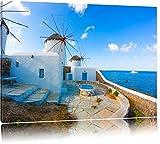 Kleine Windmühlen im Mittelmeer Format: 60x40 auf Leinwand, XXL riesige Bilder fertig gerahmt mit Keilrahmen, Kunstdruck auf Wandbild mit Rahmen, günstiger als Gemälde oder Ölbild, kein Poster oder Plakat