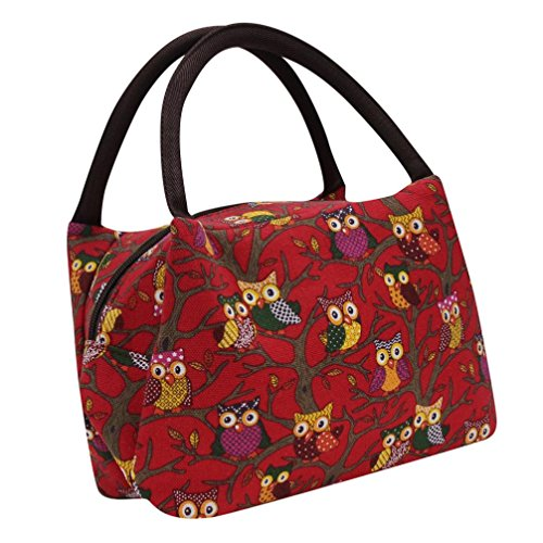 fulltimerowl-thermal-insulated-tote-picnic-lunch-bag-cooler-sac-a-main-pouch-rouge