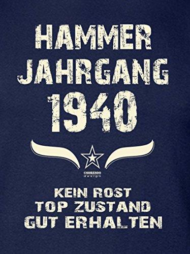 Geschenkidee zum 77. Geburtstag :-: Herren kurzarm Geburtstags-Sprüche-T-Shirt mit Jahreszahl :-: Hammer Jahrgang 1940 :-: Geburtstagsgeschenk für Männer :-: Farbe: navy-blau Navy-Blau