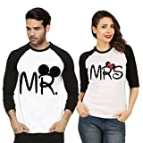 #7: Fanideaz Valentines Gift Raglan Cotton Mr and Mrs Printed Couple T Shirt