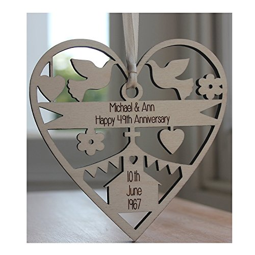 Wedding anniversary gift amazon alphabet barn anniversary wedding gift personalised engraved wood decoration made in the uk by alphabet barn keepsake 125cm x 125cm negle Image collections