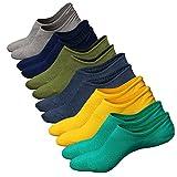 Herren Sneaker Socken Atmungsaktiv Unsichtbar Baumwoll Kurzsocken Sport Socken für Loafers Boots Schuhe Anti Rutsch Griff (Schuhgröße:38-44, Farbe 2 (6 Parr))