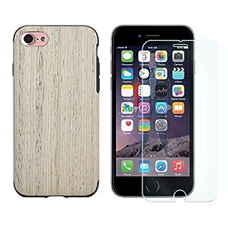 Panzer Glas + TPU Back Cover für Apple iPhone 7 in Holz Optik Slim Silikon Schutz Hülle Case Bumper TPU Eiche-Hell