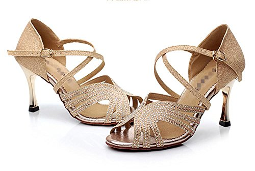 Weibliche weiche lateinische Tanzschuhe / Mädchen tanzen Schuhe Gold