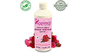 KAZIMA 100% Pure Natural Edible Rosewater (Gulab Jal) for Used in Coocking, Cakes (Edible Grade) (No Chemical | No Preservatives) (500ml)