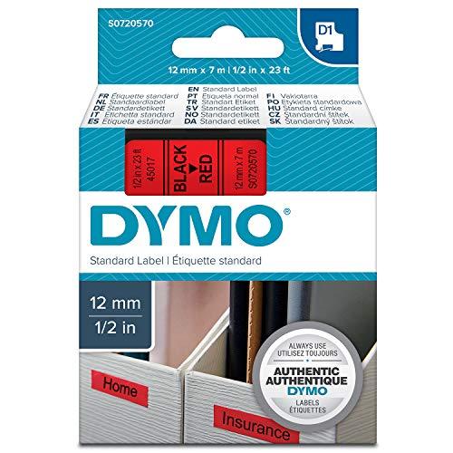 Dymo S0720570 D1-Etiketten (Selbstklebend, für den Drucker LabelManager, 12 mm x 7 m Rolle) schwarz auf rot (Gläser Großhandel Rote)