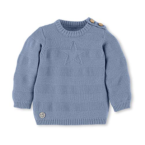 Sterntaler Strick-Pullover mit Stern und Knöpfen, Alter: 3-4 Monate, Größe: 56, Hellblau (Gerippten T-shirt Leichtes)