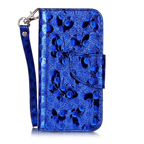 Nancen Wallet Case Hülle für Apple iPhone 5 / 5S / SE (4 Zoll) ,Schmetterling Muster Flip Funktion Kartenfächer Magnet Etui Apple iPhone 5 / 5S / SE (4 Zoll) blau