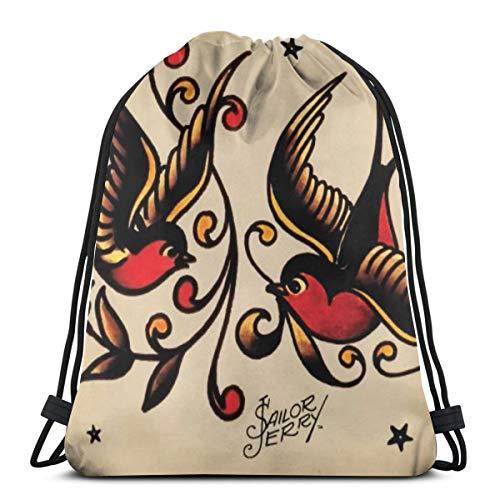 Bag hat Sailor Jerry Tattoo Print 3D Print Drawstring Backpack Rucksack Shoulder Gym for Adult 16.9