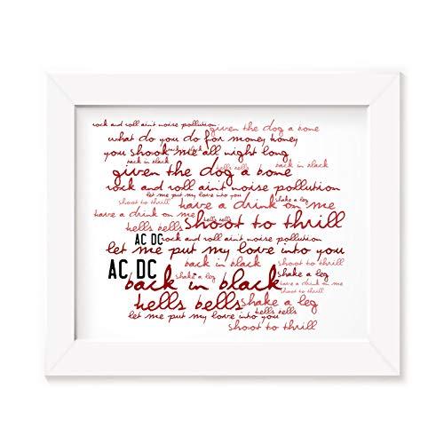 AC/DC Poster Print - Back in Black - Letra firmada regalo arte cartel