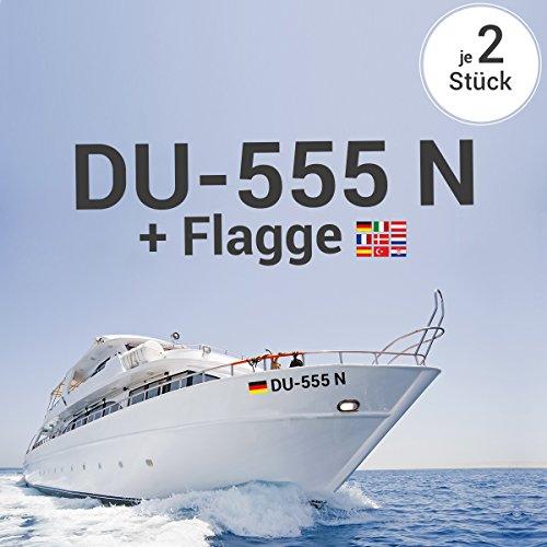 Motoking Bootskennzeichen - Ihr Kennzeichen als Aufkleber inkl. Wunschflagge als Aufkleber - Wähle Farbe & Größe - Mausgrau Seidenmatt - Höhe: 15 cm