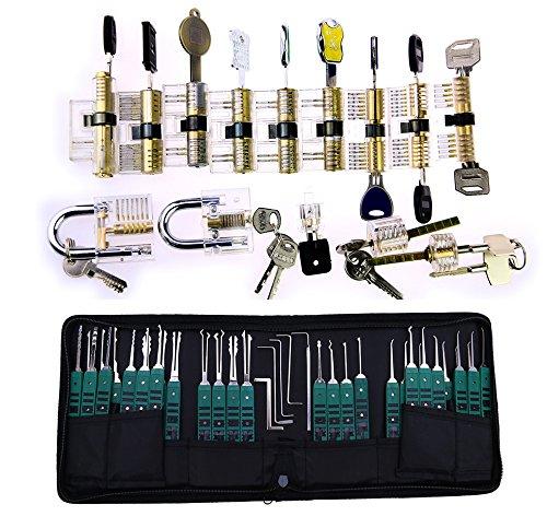 TPM Go Super profesional cerrajero práctica Set, 14pcs transparente Lock Set de entrenamiento para familia con-juego de ganzúas