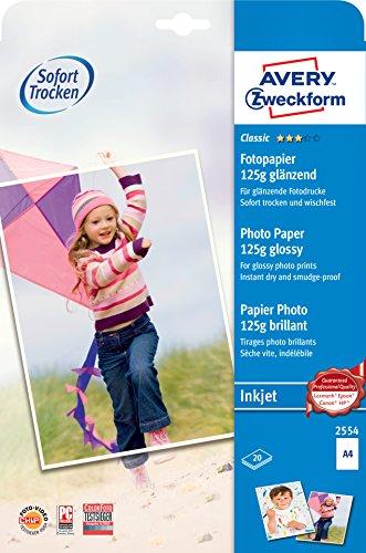 AVERY Zweckform 2554 Classic Inkjet Fotopapier (A4, einseitig beschichtet, glänzend, 125 g/m², 20 Blatt)