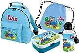 Mein Zwergenland Set 5 Kindergartenrucksack, Brotdose Brotdose Mepal mit Bento Box und Gabel, Trinkflasche und Turnbeutel Classic mit Namen, 4-teilig, hellblau