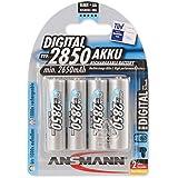 ANSMANN wiederaufladbar Akku Batterie Mignon AA 2850mAh NiMH hochkapazitiv Hohe Kapazität ohne Memory-Effekt Profi Digital Kamera-Akkubatterie 4er Pack