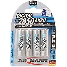 ANSMANN Mignon AA Batteria ricaricabile Digital 2850mAh NiMH - Batteria professionale ad alta capacità per fotocamere digitali (confezione da 4) - Batterie