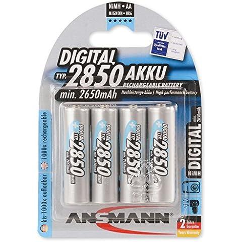 Ansmann 5035092 - Pack de 4 pilas recargables (NiMH, Digital Mignon AA, tipo 2850)