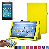 TECHGEAR� Amazon Fire HD 8 (7th Generation / 2017) PU Leather Folio Case Cover with Viewing / Typing Stand + Free Screen Protector [YELLOW] - Case for Amazon Fire HD8