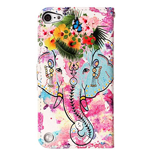iPod Touch 6 Hülle, iPod Touch 5 Case, Rosa Schleife iPhone Handyhülle PU Ledertasche Flip Wallet Cover Bookstyle Case Standfunktion Magnetverschluss Schutzhülle TPU Silikon Bumper Schale für iPod Tou A - Rosa und Blau