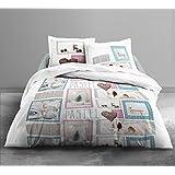 Today 015952 HOME PASTEL Parure de lit avec Housse de couette/2 taies d'oreillers Coton Blanc/Rose/Bleu 220 x 240 cm