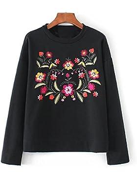 El Período De Primavera Y Otoño Muy Bien Negro Con Cuello Redondo Patrón De Flores Bordados Suelto Con Capucha