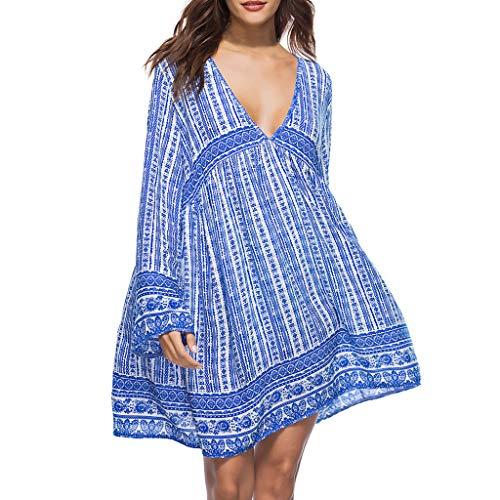Anne Klein-jersey (Tohole Damen Strandkleid Sexy Tiefer V-Ausschnitt Tunika Sommerkleid Vintage Ethnischen Stil Blumenkleid Lose T-Shirt Kleid Floral Minikleid (Blau,M))