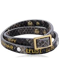 Pilgrim Jewelry Damen Armband Metall vergoldet Leder 41.0 cm -  kristall weiß - 901332502