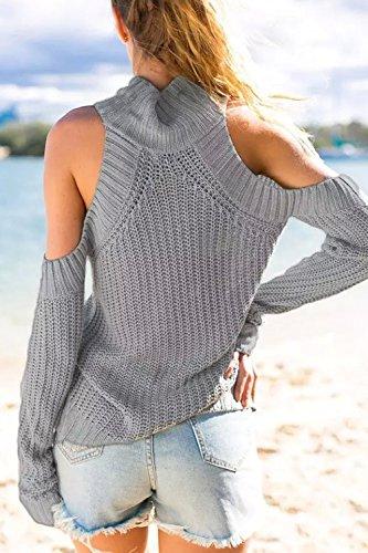 Les Femmes Des Manches Longues Lépaule Solide Chemise De Tricot Mobiles Haut Cou Pulls Grey