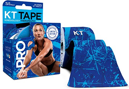 KT Tape Pro Kinesiologie-Tape, 20 vorgeschnittene 25,4 cm Streifen, Jet Black, latexfrei, wasserabweisend, Unisex-Erwachsene, Blue Ice Crystals, Blue Ice Crystals - Precut, 20 Strips Crystal Tape