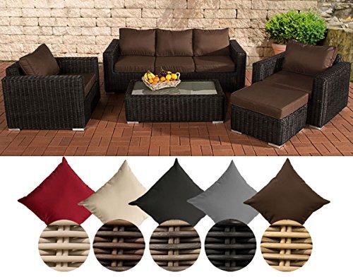 CLP Polyrattan-Lounge MADEIRA inklusive Polsterauflagen   Gartenmöbel-Set bestehend aus einem 3er-Sofa, zwei Sesseln einem Loungetisch und einem Hocker   In verschiedenen Farben erhältlich Bezugfarbe: Terrabraun, Rattan Farbe schwarz