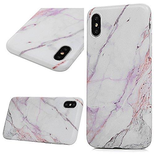 iPhone X Cover Antiurto Silicone TPU Gel Gomma - YOKIRIN Marmo Opacco Morbido Case Ultra Sottile Flessibile Per iPhone X - Bianco e Nero Viola e Bianco