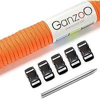 'Ganzoo Paracord 550Set, pulsera, perros cuerda o collar de perro banda para hacer sí; cuerda con 4mm de grosor, cierre de plástico (3/8) y aguja de Paracord en Juego de manualidades, disponible en muchos colores diferentes, marca Ganzoo, naranja