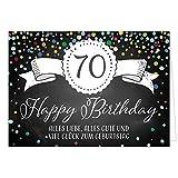 Große Glückwunschkarte XXL (A4) zum 70. Geburtstag - Tafel-Look Konfetti/mit Umschlag/Edle Design Klappkarte/Glückwunsch/Happy Birthday Geburtstagskarte/Extra Groß/Edle Maxi Gruß-Karte