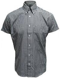 Relco - Chemise à manches courtes - motif vichy - mod - noir - tailles S-XXL
