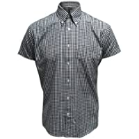 Relco Mens Gingham Short Sleeve Classic Button Down Shirt