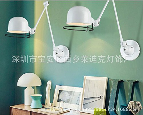 BOOTU Bougeoir LED et descendre appliques La France industrielle loft retro lampe murale à led réglable bras robot applique murale, blanc