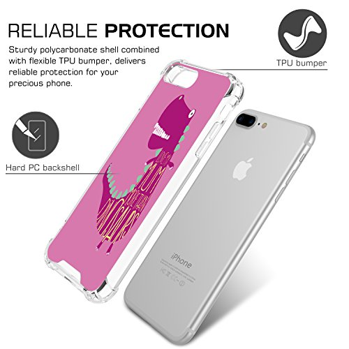 MoKo iPhone 8 Plus / iPhone 7 Plus Coque - [Résistant Aux Rayures] [Anti goutte & rayure] Etui Housse Series Halo Hybride avec TPU Pare-Chocs pour Apple iPhone 8 Plus / iPhone 7 Plus, Rose Clair Dinosaure Rouge