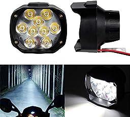 Leebo Motorcycle Bike L5 Waterproof 9 LED Spot Fog Light Lamp (Set Of 2) For Honda Activa 4G