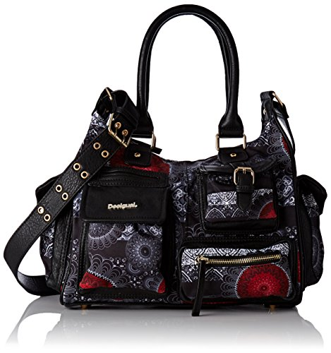 Desigual BOLS_LONDON Medium Barbados, Sacs Bandoulière Femme, Rouge (3000), 12x25x32 cm