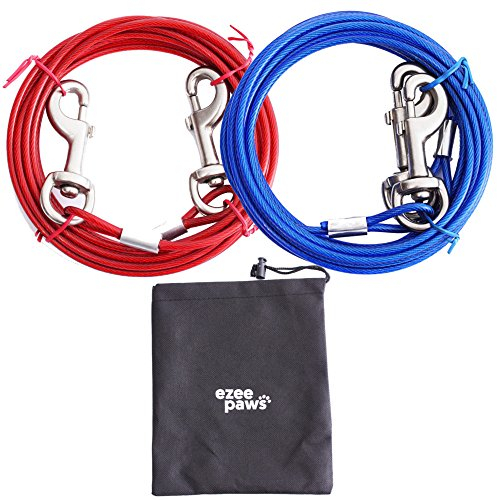 Dog Tie Out Cable with Storage Bag 15ft (4.5m)