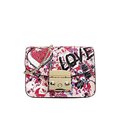 Hungrybubble Designer Leder Umhängetaschen Painted Print Schultertaschen Handtaschen Geldbörse für Frauen Mädchen (Color : Love) -