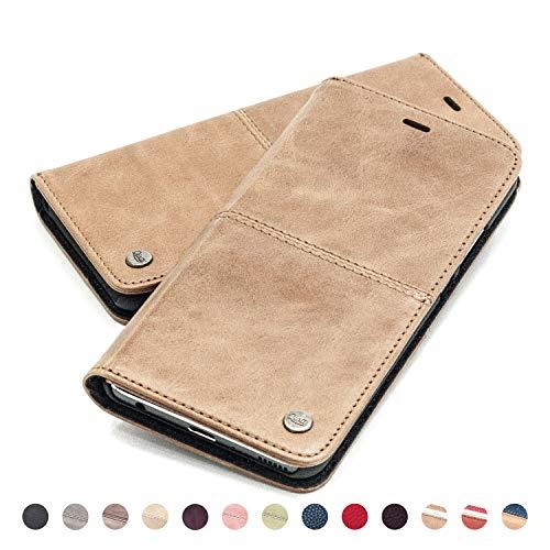 QIOTTI Hülle Kompatibel mit iPhone 8 I iPhone 7 Ledertasche aus Hochwertigem Leder RFID NFC Schutz mit Kartenfach Standfunktion in Braun