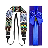 Camera Scarf Strap PAMISO Camera Strap and A Bonus Ivation Spot Cleaning Cloth ,Comfortable Shoulder And Neck Strap(Deep Blue flower)