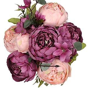 Luyue Vintage Pfingstrosen, künstlich, Seide, Blumen-Bouquet, Hochzeitsdekoration New Cameo Brown