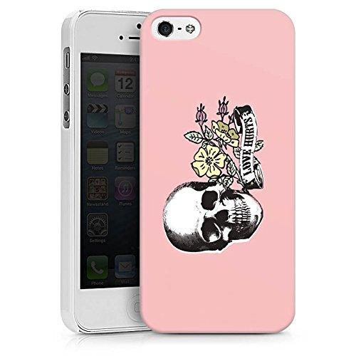 Apple iPhone X Silikon Hülle Case Schutzhülle Skull Love Hurts Flower Hard Case weiß