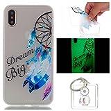 Hülle Leuchtende iPhone X Silikon Etui Handy Hülle Weiche Transparente Luminous TPU Back Case Tasche Schale Leuchten In Der Nacht Für Apple iPhone X + Schlüsselanhänger (P) (16)